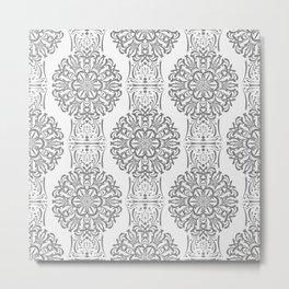 Gray white Damask ornament . Metal Print