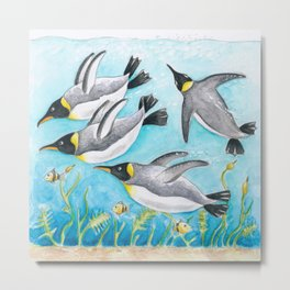 Emperors Penguins Swimming Underwater Blue Watercolor Metal Print