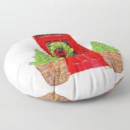 Red Christmas Door with Boxwood Wreath Floor Pillow