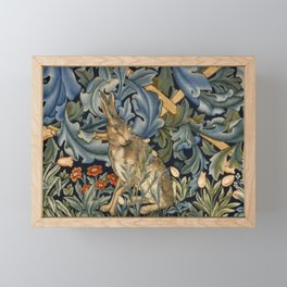 William Morris Forest Rabbit Floral Art Nouveau  Framed Mini Art Print