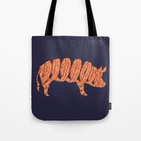 bacon Tote Bags featuring bacon by nino benito