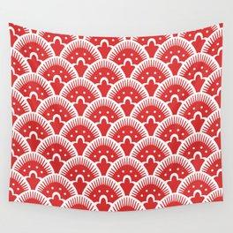 Fan Pattern Red 201 Wall Tapestry