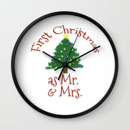 First Christmas as Mr and Mrs 1st Married Xmas Husband and Wife Wall Clock