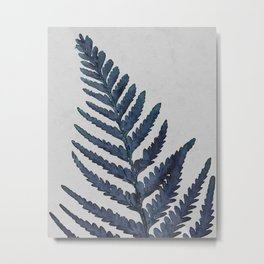 Botanical Indigo Navy Blue Vintage Leaf Fern, Watercolor Wall Art Farmhouse Rustic Country Nature Metal Print