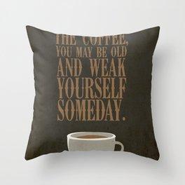 Coffee Warning Throw Pillow