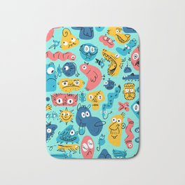 Colorful Character Shapes Bath Mat