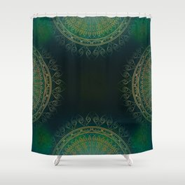 """Dark Clover Green & Gold Mandala Deluxe"" Shower Curtain"