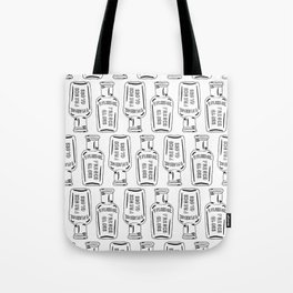Vintage Bottle Collection Illustrated Repeat Pattern Print Tote Bag