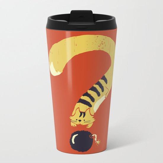 Question Mark (Curiosity Kills The Cat) Metal Travel Mug