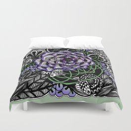 Fishes on a Coral Reef Greens - Zentangle Illustration Duvet Cover
