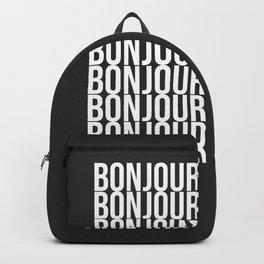 BONJOUR Word Art in Black and White Backpack