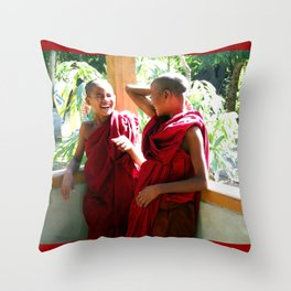 Laughter at th Monastey, Myanmar Throw Pillow