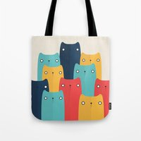 cats Tote Bags featuring Cats by Volkan Dalyan