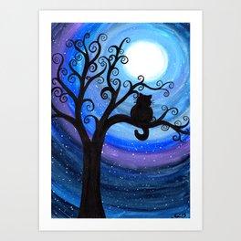 Midnight Cat Art Print