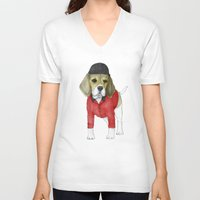 beagle V-neck T-shirts featuring Beagle by Barruf