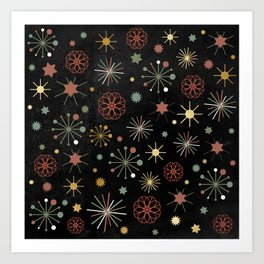 Chalkboard Christmas Pattern 03 Art Print
