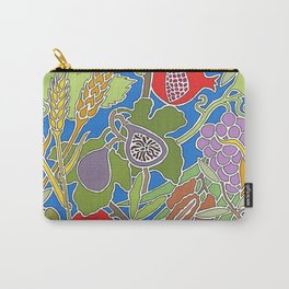 Seven Species Botanical Fruit and Grain with Blue Background Carry-All Pouch