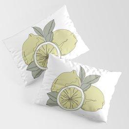 Botanical fruit illustration line drawing - Lemons Pillow Sham