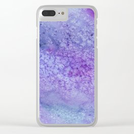 Winter Frost Blue And Purple Watercolor Clear iPhone Case