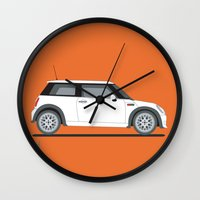mini cooper Wall Clocks featuring Mini Cooper by Aimee Liwag
