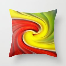 Twirl Red Green Gold Throw Pillow