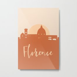 FLORENCE ITALY CITY SUN SKYLINE EARTH TONES Metal Print