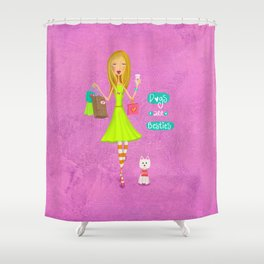 Dogs Are Besties Shower Curtain