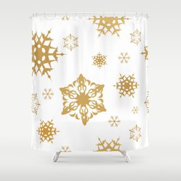 Classic Christmas Gold and White Colored Snowfall Shower Curtain