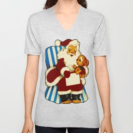 Vintage Santa with Teddy Bear Unisex V-Neck