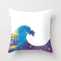 hokusai Throw Pillows featuring Hokusai Universe by FACTORIE