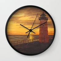 milwaukee Wall Clocks featuring Milwaukee Lighthouse by Hatton Custom Design