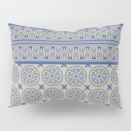 African Ethnic Tribal Beige and Blue Pattern Pillow Sham