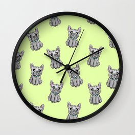 French Bulldog GREEN Wall Clock