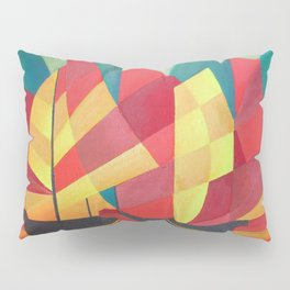 Cubist Abstract of Junk Sails and Ocean Skies Pillow Sham