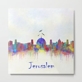 Watercolor Jerusalem City Skyline Metal Print