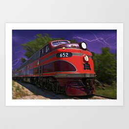 Rock Island Rocket Streamliner Passenger Train in Night Thunderstorm Art Print