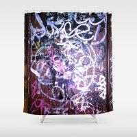 bathroom Shower Curtains featuring Bathroom Graffiti II by Bendey