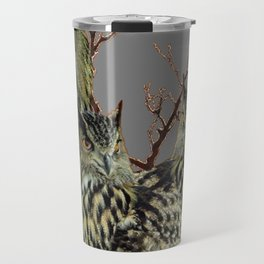 FOREST  WOODS OWL FAMILY GREY ART DESIGN  ART Travel Mug