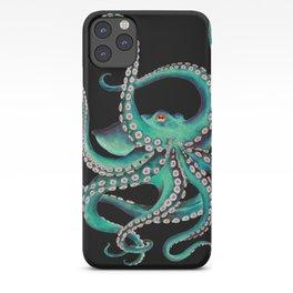 Octopus Tentacles Dance Teal Watercolor Ink Black iPhone Case