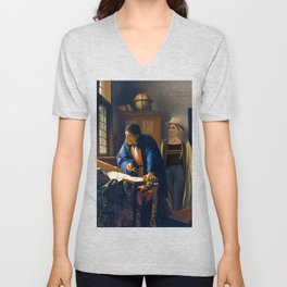 The Doctor and Vermeer's Geographer Unisex V-Neck