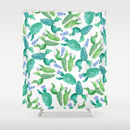 Watercolor hand painted violet green cactus floral Shower Curtain