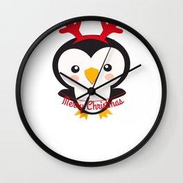 Christmas Penguins Merry Christmas Penguin Wearing Reindeer Antlers Wall Clock