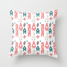 Home of the Llama Village Throw Pillow