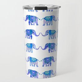 HAPPY ELEPHANTS - WATERCOLOR BLUE PALETTE Travel Mug