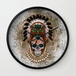 Indian Native Owl Sugar Skull Wall Clock