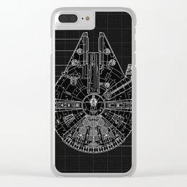 Millennium Falcon Blueprint Clear iPhone Case
