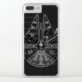 Millennium Falcon Blueprint Clear iPhone Case