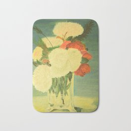 flowers in a glass vase . Oil painting . art Bath Mat