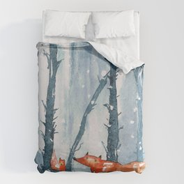Foxes in forest Duvet Cover