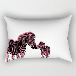 Zebra Mother And Baby Rectangular Pillow